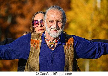 portrait, couple, heureux