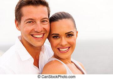 portrait, couple, jeune, croisière bateau