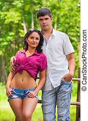 portrait, couple, jeune