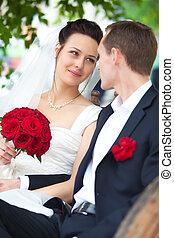portrait, couple, jeune, mariage