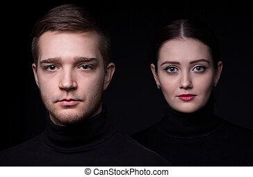 portrait, couple, jeune, séduisant