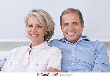 portrait, couple, mûrir
