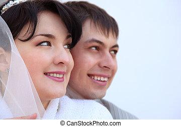 portrait, couple, mariés, récemment
