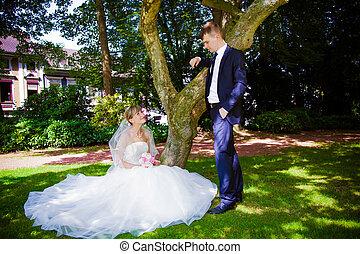 portrait, couple, mariage