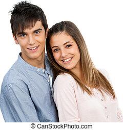 portrait, couple., mignon, adolescent