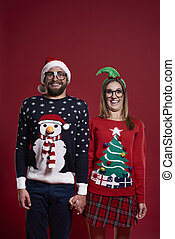 portrait, couple, noël, vêtements