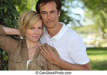 portrait, couple, parc