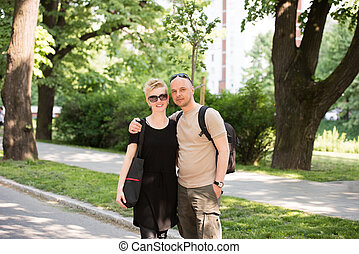 portrait, couple, parc