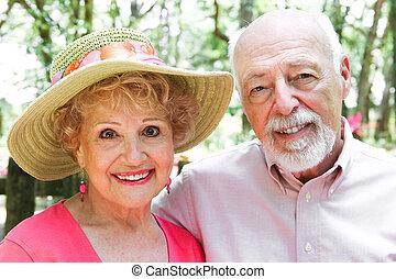 portrait, couple, -, personne agee
