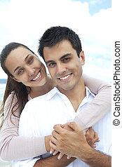portrait, couple, plage, amour