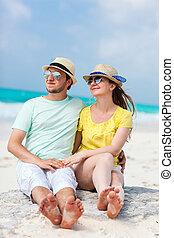 portrait, couple, plage