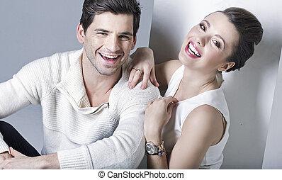 portrait, couple, rire, jeune