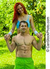 portrait, couple, sports