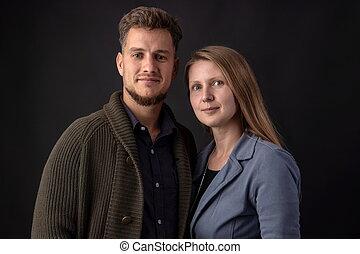portrait, couple, studio, jeune