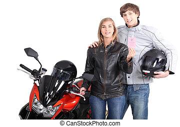 portrait, couple, suivant, moto, jeune
