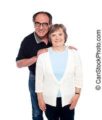 portrait, couple, vieilli, amour, sourire