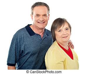 portrait, couple, vieilli, sourire