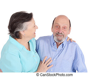 portrait, couples aînés, heureux