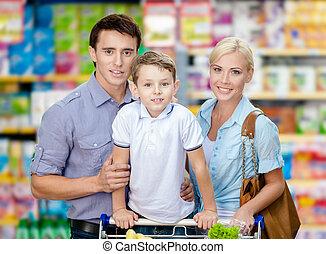 portrait, court, centre commercial, famille