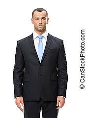 portrait, court, homme affaires, sérieux