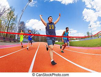 portrait, croisement, sprinter, ligne, adolescent, finition