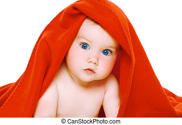 Portrait cute baby with towel on the head