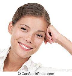 portrait, décontracté, femme souriant, asiatique