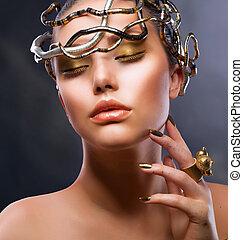 portrait., děvče, makeup, móda, zlatý