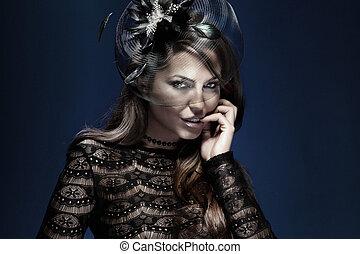 portrait, de, élégant, séduisant, dame, dans, black.