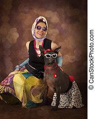 portrait, de, 1950's, appelé, femme, à, a, chien
