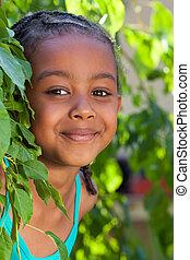 portrait, de, a, adorable, peu, fille américaine africaine