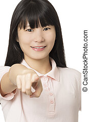 portrait, de, a, américain chinois, femme, isolé, blanc, fond