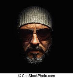 portrait, de, a, barbe, homme, à, lunettes