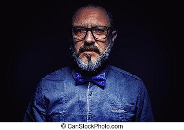 portrait, de, a, barbe, homme