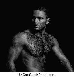 portrait, de, a, beau, dénudée, musculaire, guy., noir blanc