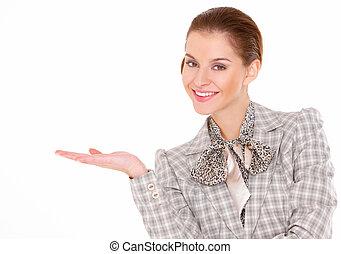 portrait, de, a, beau, jeune, femme affaires, blanc