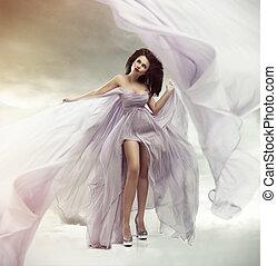 portrait, de, a, beau, sexy, jeune femme, dans, robe violette
