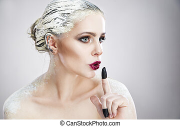 portrait, de, a, belle femme, à, créatif, maquillage