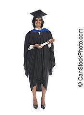 portrait, de, a, femme, diplômé, à, elle, diplôme
