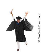 portrait, de, a, femme, diplômé, célébrer, reussite, à, elle, diplôme, corps plein
