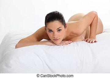 portrait, de, a, femme nue, mensonge, sur, a, lit