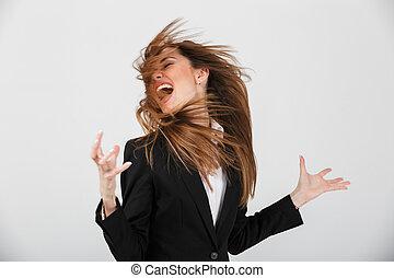 portrait, de, a, furieux, femme affaires, habillé, dans, complet, crier