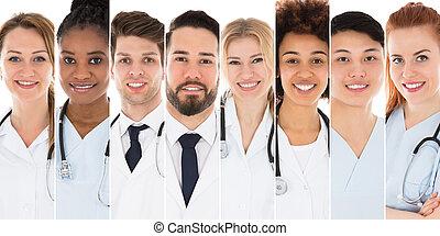 portrait, de, a, heureux, docteur féminin