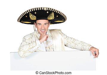 portrait, de, a, homme, à, sombrero