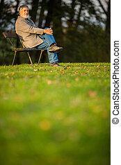 portrait, de, a, homme aîné, dehors, séance, sur, a, banc, dans, a, parc