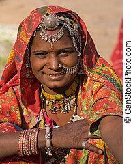 portrait, de, a, inde, rajasthani, femme