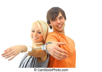 portrait, de, a, jeune, adolescent coupler, sourire, contre, fond blanc
