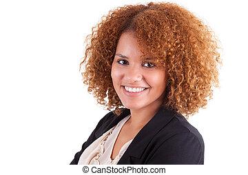 portrait, de, a, jeune, américain africain, femme affaires,...