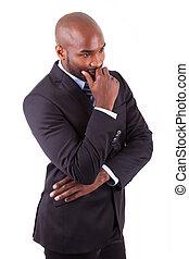 portrait, de, a, jeune, américain africain, homme affaires, pensée