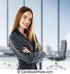 portrait, de, a, jeune, femme affaires